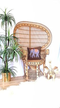 Large Emmanuel Rattan Peacock Fan Chair 59 H With Full