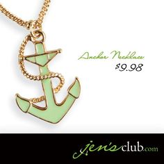 """Anchor Necklace From Regal       Highly detailed anchor, finished in a soft mint green epoxy, hangs gracefully from a delicate chain. With gold-tone rope and lobster clasp closure. (18""""L plus 3-1/2"""" extender)  Product Number - JC1014"""