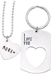 ✿ HEAVY HEART STAINLESS STEEL WIRED KEY CHAIN FOB GREAT 4 VALENTINE HOME CAR