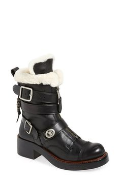 Who wouldn't want these moto boots?  I have some Dr. Martens black motoboots that are taller and--doesn't have the sweet fleece though. COACH 'Zip Moto' Genuine Shearling Boot (Women) available at #Nordstrom