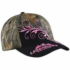 Every lady needs a little camo. Mossy Oak® camo, pure cotton twill, hot pink embroidery, and rhinestones make this cap a real looker. Adjustable back closure. One size fits most.