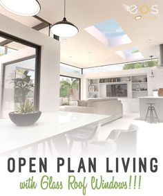 Making the most of natural light is a   great way to keep a room feeling vibrant and lively and can even help a   space feel larger than it actually is. Here, a run of sliding doors   leads directly on to a patio area, providing a seamless connection to   the outdoors while, inside, neutral tones give a feeling of space and light #openplanliving #kitchenideas #roofwindows #glass #eosrooflights