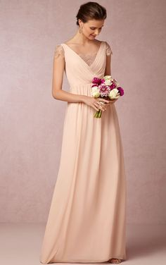 A-line Chiffon Floor-length Cap Sleeve Zipper Bridesmaid Dresses_1