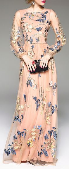 Shop blacktang pink embroidered gauze spliced prom dress here, find your evening dresses at dezzal, huge selection and best quality. Fashion Mode, Modest Fashion, Couture Fashion, Pretty Dresses, Beautiful Dresses, Dress Skirt, Dress Up, Gauze Dress, Skirt Outfits