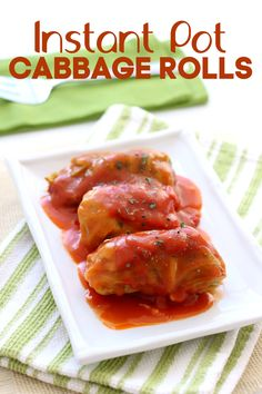 Instant Pot Cabbage Rolls - 365 Days of Slow Cooking and Pressure Cooking Instant Pot Cabbage Rolls--a hearty beef and rice mixture is rolled up in softened cabbage leaves and cooked in your Instant Pot with a homemade tomato sauce. Instant Pot Pressure Cooker, Pressure Cooker Recipes, Pressure Cooking, Slow Cooking, Crockpot Recipes, Cooking Recipes, Chicken Recipes, Cabbage Rolls Recipe, Cooked Cabbage Recipes