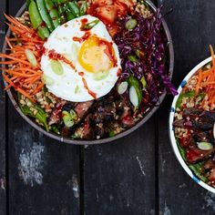 Korean-Style Grain Bowls With Spicy Marinated Steak.  Since it makes extra marinade, use it in the crock pot with a roast?  Make these salads and then the rest of the meats in tacos.