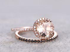 Rose Gold Morganite Wedding Set Black Diamond Half Eternity Ring 1.2 Carat Thin Stacking Band 14k/18k - BBBGEM