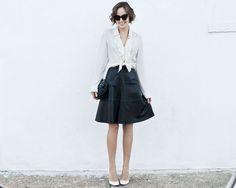 { versioning } black skirt / white shirt | The Glamourai