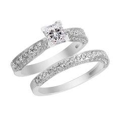 Princess Solitaire White Gold Diamond Engagement Ring Wedding Band Bridal Set