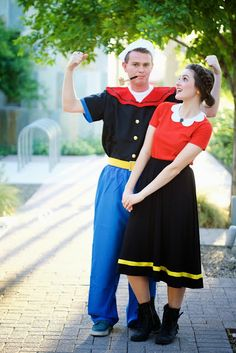 Homemade popeye and olive oyl costume happy holidays pinterest orange you glad popeye and olive oyl solutioingenieria Image collections