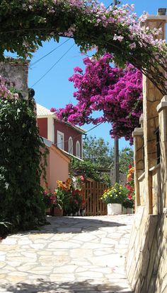 "visitheworld: "" Street in the village of Afionas, Corfu Island, Greece (by Gary&Carolyn). Corfu Greece, Mykonos Greece, Athens Greece, Corfu Map, Kassiopi Corfu, Greece Art, Corfu Town, Places Around The World, Oh The Places You'll Go"