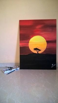 Original Nature Painting by Omkar Barwase Easy Canvas Art, Simple Canvas Paintings, Small Canvas Art, Easy Nature Paintings, Paintings For Kids Room, Diy Canvas, Canvas Size, Canvas Painting Tutorials, Canvas Art Projects