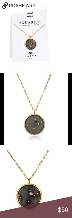 Satya Aquarius Zodiac Necklace Brighten your look with this gold-plated pendant of your zodiac constellation with stars made with gold dots and a gemstone. Balancing style and spirituality, each piece in the Zodiac Collection depicts your sign in the heavens with stars made from gold and glittering birthstones that contrast with a dark gunmetal sky. Hanging from the end of a golden rolo chain, this 0.8-inch pendant is made from 18-karat gold-plate and gunmetal over brass. Secure 18-inch…
