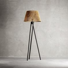 love this Tinek Tripod Floor light with this rattan shade. Abode