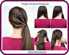 Simple hairstyle pony tail with twisted hair tutorial step by step. hairstyle for long hair tutorial Cute Hairstyles For School, Easy Hairstyles For Medium Hair, Step By Step Hairstyles, Little Girl Hairstyles, Twist Hairstyles, Protective Hairstyles, Hairstyles Haircuts, Trendy Hairstyles, Latest Haircuts