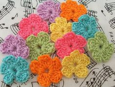 Funky Bright Colored Crochet Flower Appliques by FineThreads, $3.00