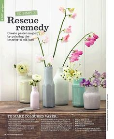DIY colored vases with old paint