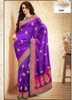 Classy Purple And Pink Bhagalpuri Silk Booti Work  Party Wear Saree http://www.angelnx.com/Sarees/Designer-Sarees