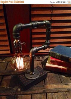 ON SALE Industrial pipe lamp-Unique table by UrbanIndustrialCraft