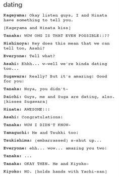 Haikyuu funny - Tanaka, forever alone...