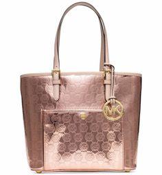 Michael Kors Jet Set MK Signature PVC Medium Snap Pocket Tote Bag Rose Gold NWT #MichaelKors #TotesShoppers