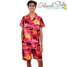 mens cabana set boardies hawaiian shirt sunset pink costume