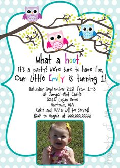 Owl Themed Invitation with picture Digital / by ABnormalinc, $9.00