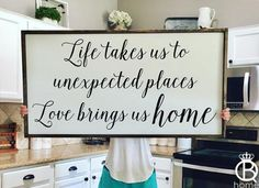 Life Takes Us To Unexpected Places Framed Wood Sign - QueenBHome