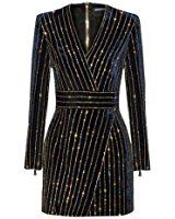 UONBOX Women's Rhinestone Embellished Long Sleeves V Neck Velvet Bandage Cocktail Dress