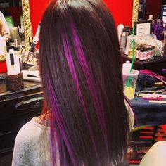 "Brunette Hair with Purple Highlights-- ""you're the one that I want!!"" :)"