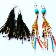 Fringe boho earrings, handmade jewelry by MomMa