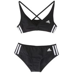 Adidas Authentic 2-Piece Bikini, Black (26 AUD) ❤ liked on Polyvore featuring underwear, swimwear, tops, lingerie, women's sports swimwear and adidas