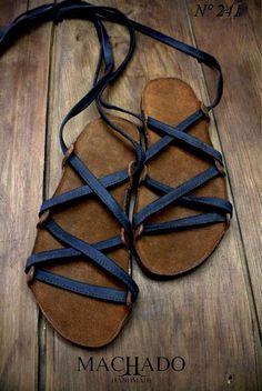 Machado Handmade His sandals I am not worthy to un tie john Fashion Shoes, Fashion Accessories, Mens Fashion, Crazy Shoes, Me Too Shoes, Gladiator Sandals, Shoes Sandals, Blue Sandals, Simple Sandals