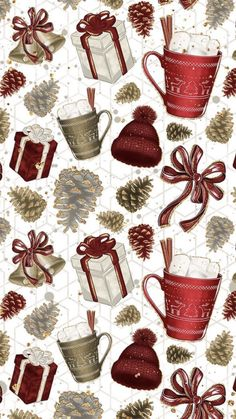 Are you looking for inspiration for christmas aesthetic?Navigate here for cool X-Mas ideas.May the season bring you serenity. Cute Christmas Wallpaper, Holiday Wallpaper, Christmas Background, Christmas Aesthetic Wallpaper, Cozy Christmas, Christmas Paper, Christmas Time, Vintage Christmas Wrapping Paper, Christmas Gifts