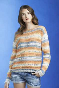 Woman's summer sweater for Novita, free pattern in Finnish and in Swedish at novitaknits.com