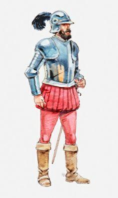 Title: Illustration of Spanish conquistador Bernal Diaz Photographer:Dorling Kindersley