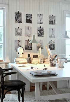 Home office inspiration. I would have a gallery wall of family pics beside me to inspire me to work hard for them ; Home Office Space, Office Workspace, Home Office Design, Home Office Decor, House Design, Home Decor, Office Ideas, Workspace Design, Desk Space