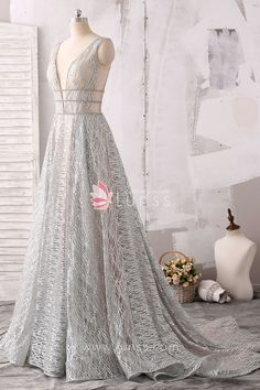 e4ddf0c83f Sparkling and Sheer Silver Plunging V-neck A-line Evening Prom Dress with  Chapel Train