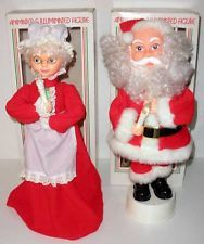 """Vintage Woolworths Battery Operated Animated Mr. & Mrs. Claus 16"""" Figures"""