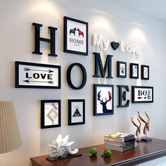 European Stype Home Design Wedding Love Photo Frame Wall Decoration Wooden Picture Frame Set Wall Photo Frame Set, White Black-in Frame from Home & Ga… - New Deko Sites Picture Frame Sets, Wooden Picture Frames, Photo Frame Ideas, Decorating With Picture Frames, Black Frames On Wall, Photo Frame Design, Wooden Wall Letters, White Frames, Decorating With Pictures