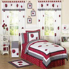 JoJo Designs Red/ White 4-piece Twin-size Comforter Set