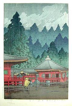 Kawase Hasui (1883-1957): Futatsudo in Nikko, woodblock print, 1929. SOLD.
