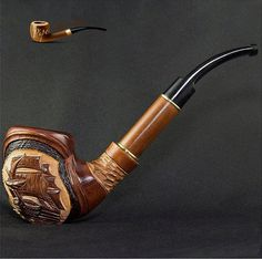 """HAND CARVED, EXCLUSIVE WOODEN TOBACCO SMOKING PIPE """"Ship Large"""" by Artisian"""