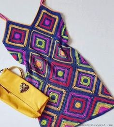 Items similar to Crochet Multicolor Square Mini Dress,Boho Hippie Gypsy Dress,Summer Women Dress. on Etsy Crochet Hippie, Beau Crochet, Crochet Granny, Crochet Yarn, Knit Crochet, Boho Hippie, Crochet Diagram, Crochet Patterns, Purple Braids