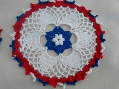 New Handmade Crocheted Set of four Patriotic Carnival Doilies for inspiration