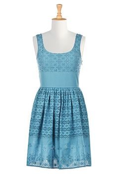 0be4e3a606 I  lt 3 this Floral eyelet seamed empire dress from eShakti White Dresses  For Women
