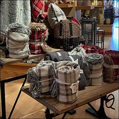 Pottery Barn Blankets, Pottery Barn Kids, Industrial Workbench, Industrial Chic, Bed Linen, Linen Bedding, Retail Fixtures, Merchandising Displays, Soft Blankets