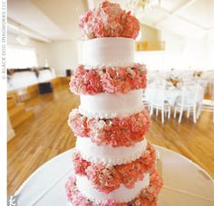 love the pink hydrangeas between each layer