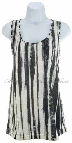 New Kenneth Cole New York Womens Tunic Shirt Sleeveless Top Black Ivory Size M | eBay
