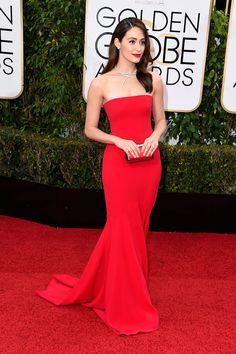 Emmy Rossum Strapless Red Mermaid Formal Dress Golden Globes 2016 Red Carpet